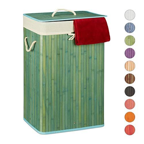 Relaxdays Wäschekorb Bambus, mit Deckel, rechteckig, XL, 83 L, Faltbarer Wäschesammler, HBT: 65,5 x 43,5 x 33,5 cm, blau