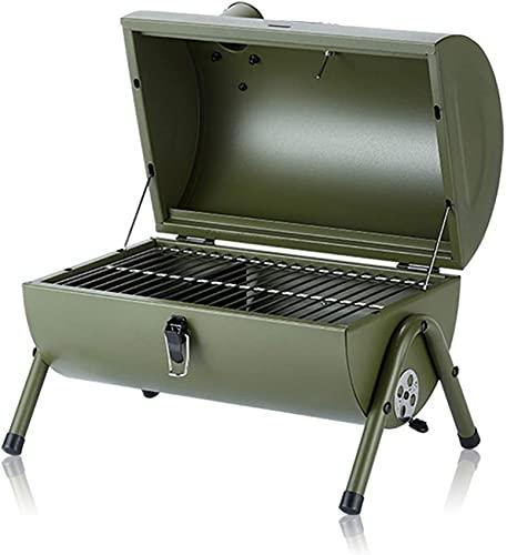 Holzkohlegrill Grill Tragbarer Grill, Holzpelletgrill mit Thermometer Tischplatte Raucher im Freien für Picknick-Gartenterrasse Campingreisen