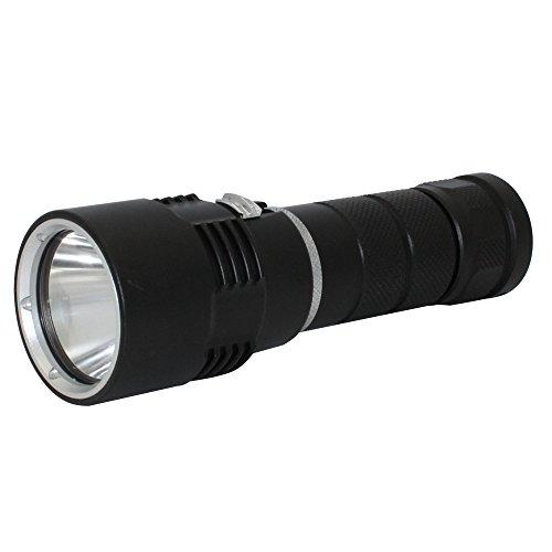 KC Fire Linterna LED, 1000 lúmenes Xml-L2 LED, 50 m bajo el Agua, Linterna de Mano de tamaño pequeño, batería 18650 y Cargador incluidos, Linterna de Buceo + batería + Cargador