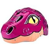 Casco de seguridad para niños con diseño de dinosaurio de dibujos animados con luz LED trasera para patinaje, scooter, bicicleta, regalos para niños