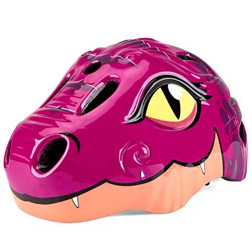 Find Bargain AGAWA Safety Cycling Helmet for Kids,Cartoon Dinosaur Bike Helmet with Rear LED Light,3...