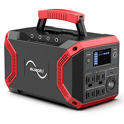 SUAOKI Portable Power Station, S370 Solar Generator 322Wh/600W Lithium Battery Pack Power Supply with QC 3.0 Outlet, 4 DC Ports, 4 USB Ports, LED Flashlights for CPAP Emergency Backup Generators