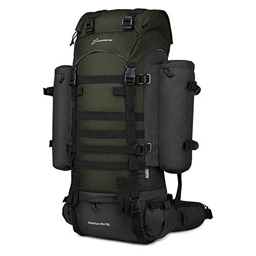 Mardingtop 65+10L Molle Hiking Internal Frame Backpacks with Rain Cover Black and Army Green-65+10L