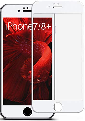 moex Full Screen Panzerglas kompatibel mit iPhone 7 Plus/iPhone 8 Plus - Schutzfolie randlos, ganzer Bildschirm, Curved 3D Schutzglas Folie, Clear Weiss