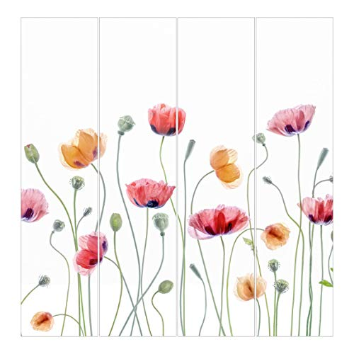 Bilderwelten Panel japonés Cortinas de salón Poppy Party Sin Montaje, 250 x 240cm