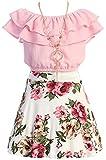 Cold Shoulder Crop Top Ruffle Layered Top Flower Girl Skirt Sets for Big Girl Blush 10 JKS 2130S