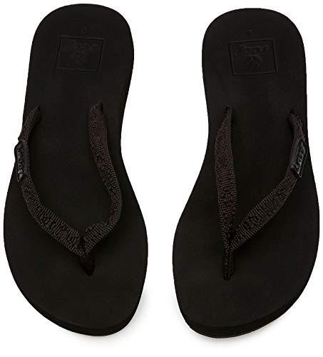 Reef Women's Ginger Sandals, Black/Black, 5