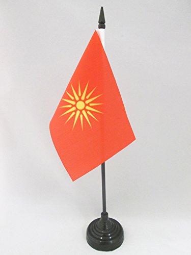 AZ FLAG TISCHFLAGGE MAZEDONIEN ALT 15x10cm - MAKEDONISCHE TISCHFAHNE 10 x 15 cm - flaggen