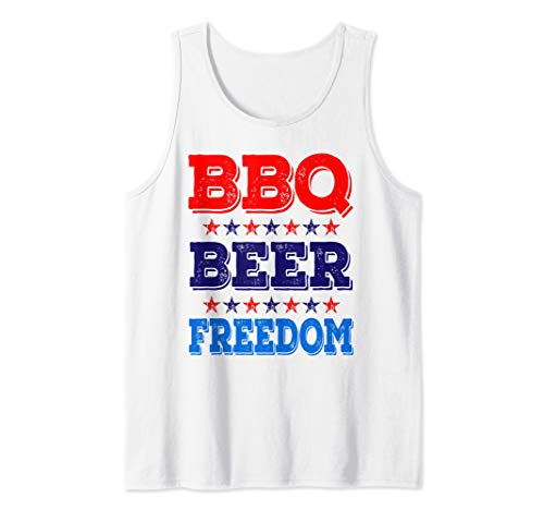 BBQ Beer Freedom America USA Party 4th of July Summer Gift Tank Top