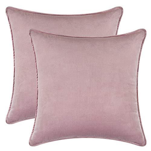 Alishomtll 2er Set Samt Kissenbezüge 45x45cm Weich Uni Kissenhülle Dekorative Wurfkissenbezug für Sofa Zimmer, Pink