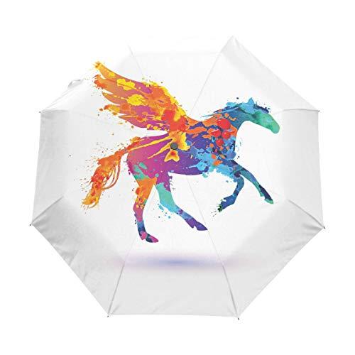 Compact Travel Regenschirm Watercolor Splash Horse Auto Open Close Regenschirm Windproof Anti-UV