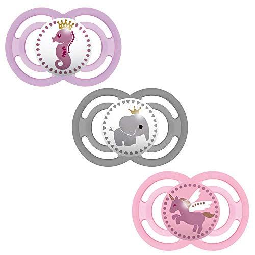 MAM Perfect Silikon Schnuller 6-16 Girl Mix // 3er Set // inkl. 3 Sterilisiertrasportboxen