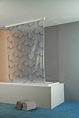 ECO-DuR  4024879002299 Kassetten Duschrollo 134 cm weiß - Ocean blau weiß