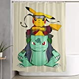 Duschvorhang Pikachu & Bulbasaur Kunstdruck, Polyester Bad Dekorationen Sammlung mit Haken 60 X 72 Zoll
