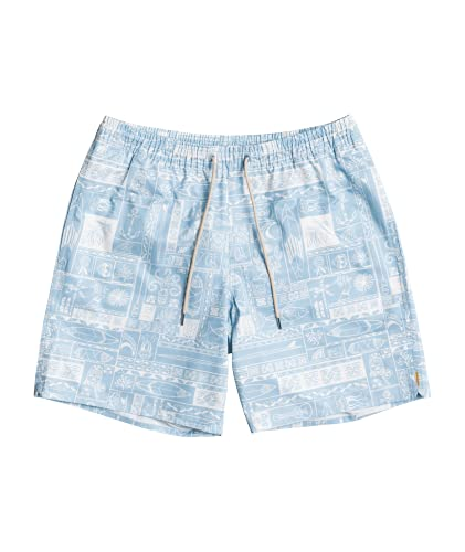 """Quiksilver Mens The Deck Print Volley 18"""" Boardshort (Gulf Stream, X-Large)"""