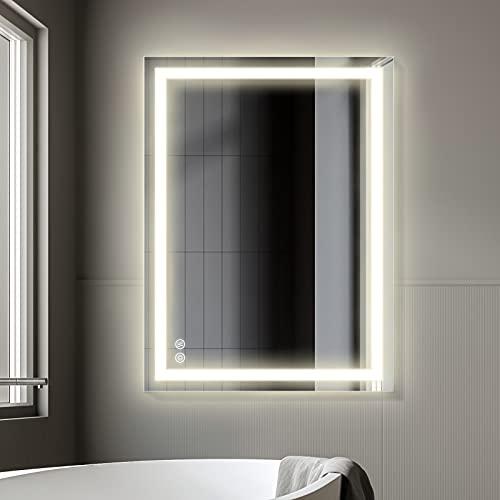 FAUETI - Espejo de baño con iluminación LED, 80 x 60 cm, regulable, 4200 K, espejo de pared con interruptor táctil y...