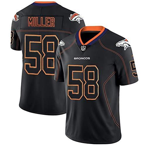 American Football Trikot-Von Miller # 58, Denver Broncos Rugby Trikot Kurzarm Sport Top T-Shirt, Schnelltrocknende Trainings-Trikots-Black-XL