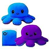 O³ Oktopus Kuscheltier- 1 STK. Reversible- Octopus Plüschtier- Wendbares Kuscheltier - Stofftier Krake- Kinder Emotionen ausdrücken- zum wenden
