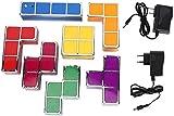YUIOLIL Nachtlicht für Nachttisch Wohnzimmer, Tetris Lampe stapelbar LED Retro 7 Stück Puzzles 3D...