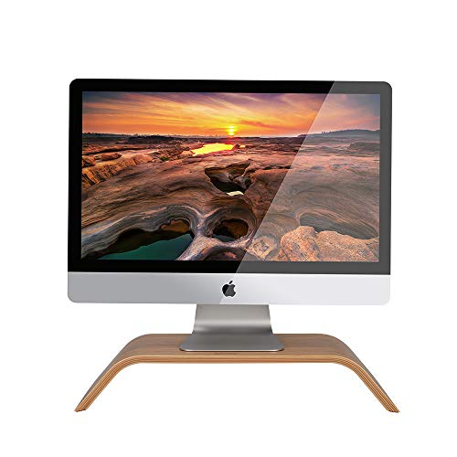 SAMDI Monitor Stand, Wooden Computer Monitor Stand,ooden Storage Organizer for Laptop, Computer, iMac, Laptop, Desk with Tablet (Bamboo)