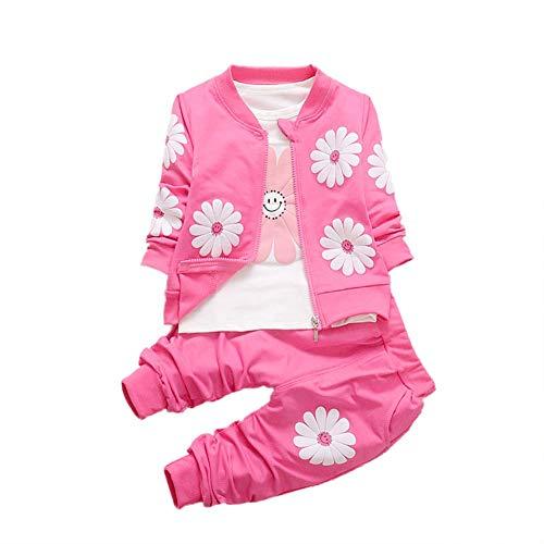 BOBORA Ensemble Fille, Bébé Filles Enfants 3 PCs Vêtements À Manches Longues Tournesol Chemise + Veste Manteau + Pantalon pour Automne et Hiver