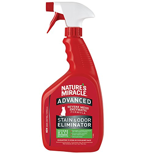 Nature's Miracle P-96992 Advanced Stain and Odor Eliminator Cat, For Severe Cat Messes, Updated Formula,32 Oz Spray