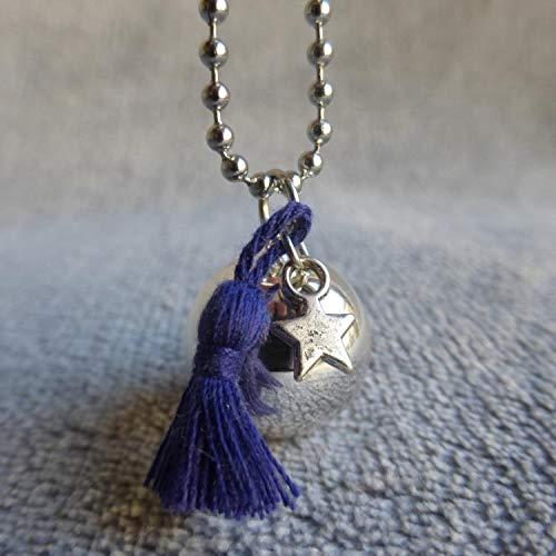 Bola de Grossesse avec chaine Bethara, PERSONNALISABLE, argenté avec pompon bleu marine violet et étoile argentée
