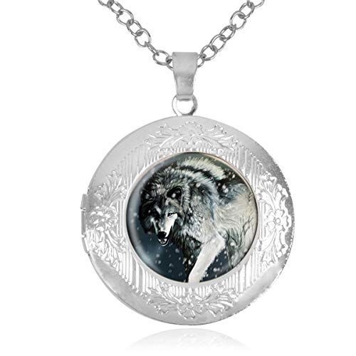 Women's Custom Locket Closure Pendant Necklace Snow Wolf Included Free Chain, Best Gift Set