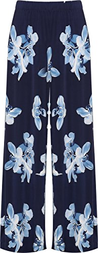 WearAll WEARALLWomen's Plus Floral Print High Waisted Palazzo Trousers New Ladies Wide Leg Pants - Navy Blue - 24-26