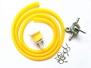 Amyli 7mm Fuel Hose Rubber Tube Line with fuel filter, Fuel Switch for Universal Moped Scooter Dirt Bike ATV Orange