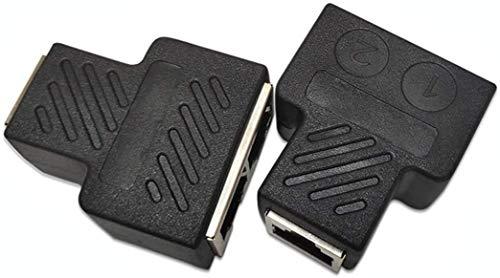 Rayber Divisor LAN 1 to 2 Simultaneously, divisor RJ45, 1 hembra a 2 hembra, adaptador para Ethernet Cat 5/6 LAN, cable de extensión de surf online en el adaptador de red Same Time Network (1 par)