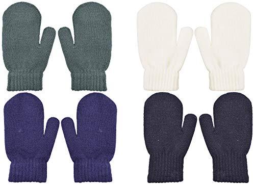 PZLE Kids Knit Mittens Winter Cashmere Warm Stretch 4 Pairs Grey...