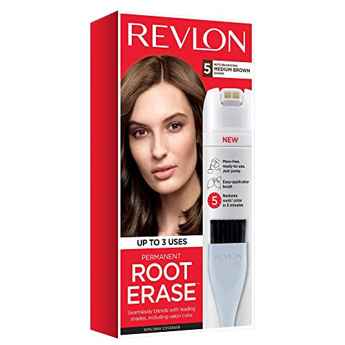 Revlon Root Erase Permanent Hair Color, At-Home Root Touchup Hair Dye with Applicator Brush for Multiple Use, 100% Gray Coverage, Medium Brown (5), 3.2 oz