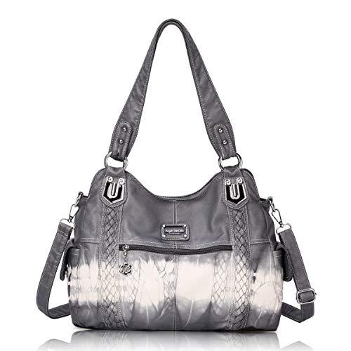 Angel Barcelo Roomy Fashion Hobo Womens Handbags Ladies Purse Satchel Shoulder Bags Tote Washed Leather Bag Grey