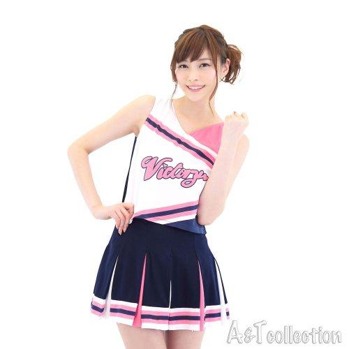 A&TCollection ラブリーチアガール コスチューム 紺/白/ピンク レディース Mサイズ