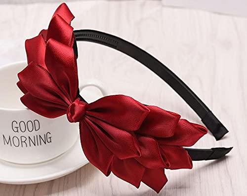 tggh Diadema de lazo rojo para mujer, accesorios para el cabello de boda, para niñas, lado sólido, banda para el pelo (color: rojo vino)