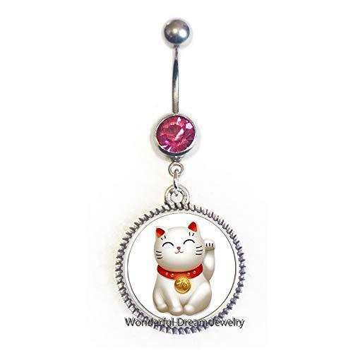 Silver Maneki Neko Lucky Cat Belly Ring,Pewter Maneki Neko Charm Belly Ring,Welcoming Cat Belly Ring,Chinese Lucky Cat Belly Ring,PU011