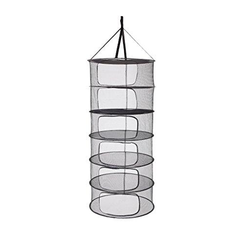 LABT Trocknungsnetz Drynet Grow Netz Trockennetz Hängetrockner Drying net zum Aufhängen mit Durchmesser 60 cm x 6 Fächern zusammenfaltbar