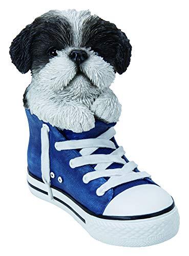 Vivid Arts - Animaux de compagnie dans des chaussures de sport noires et blanches Shih Tzu pour décoration de maison ou de jardin (SS-SZBK-F)
