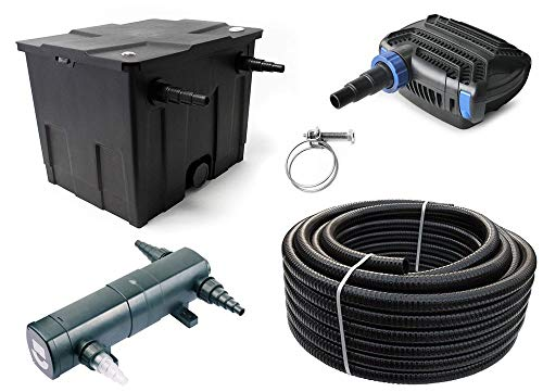 AquaOne Teich Filteranlage Set Nr.32 CBF 350 Kammerfilter 10W Eco Teichpumpe Teichgröße bis 12000l Teichschlauch UV Klärer