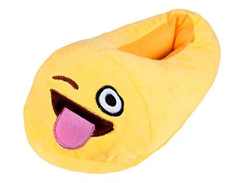 Alsino Emoji Kuschel Hausschuhe Emoticon Plüsch Smiley Schuhe Puschen rutschfest, Variante wählen:Zunge Raus;Größe wählen:27-29