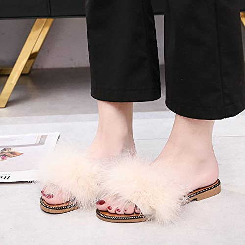 Zapatillas De Casa para Mujer Verano Abiertas,2021 Red Red Peludo Slip-On Slippers, Women Summer Fashion Outer Wear Sandalias Planas, Playa Peludo Party Slippers-I 40 (25cm / 9.85')_Blanco Crema