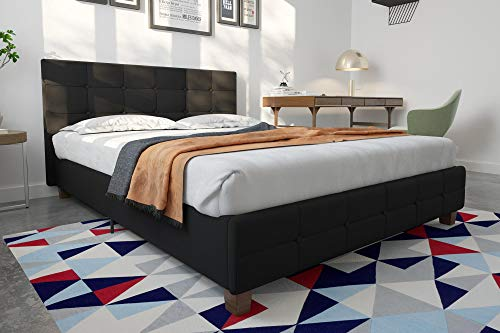 DHP Rose Linen Tufted Upholstered Platform Bed, Button Tufted Headboard and Footboard with Wooden Slats, Queen Size - Black
