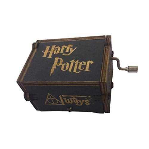 Lesiey Inicio Caja de música clásica de Harry Potter Caja de música de Madera con manivela Creativa Caja de música Hecha a Mano de Talla de Madera - Negro