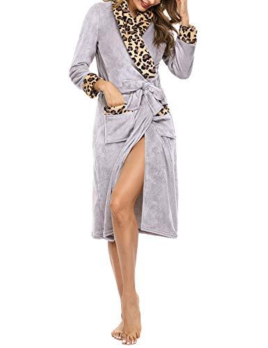 Irevial Damen Bademantel Weich Fleece Morgenmantel Lang Winter Leopard Warm Reverskragen Saunamantel mit Bindegürtel, Taschen