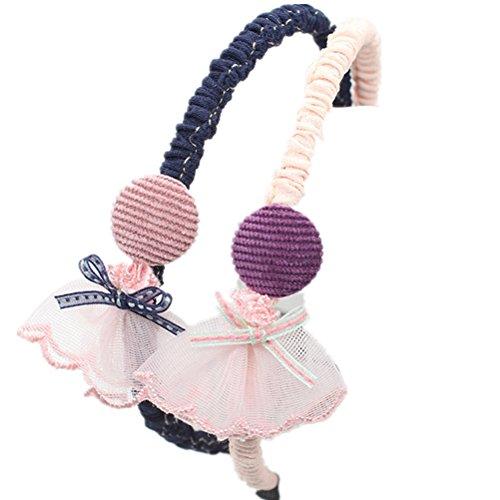 Cuhair 2 pcs Big Sweet en dentelle Dessin animé Cheveux Hoops Bandeaux cheveux Accessoires Cheveux pour Enfants Filles
