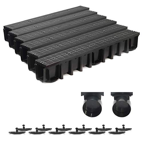 6m Entwässerungsrinne Terrassenrinne, System A15 148mm Stegrost Kunststoff, schwarz-line, komplett SET