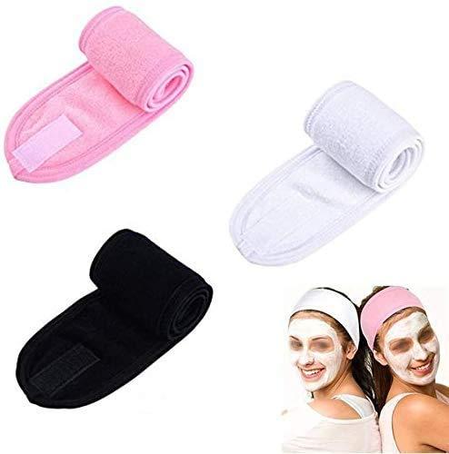 Queta 3 x Kosmetik Haarband,Verstellbare Haarbänder Sauberes Kosmetisches Haarband kann für Gesichtswäsche, Make-up, Sport verwendet werden.