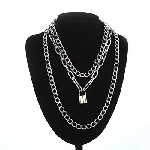 WDam Collar de Cadena de Bloqueo con Colgantes de candado, joyería Punk para Hombres y Mujeres en el Cuello, Accesorios de Egirl Eboy estéticos Grunge
