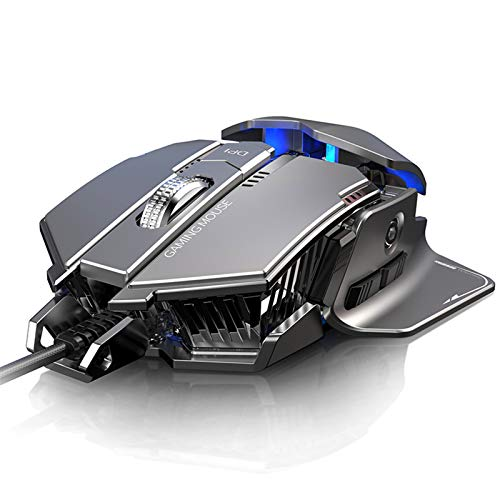 ZJM Gaming Mouse Wired, RGB Backlit Ergonomic Game Mice, 7 Programmable Buttons, High Precision 4000 DPI Adjustable, for Laptop Computer MAC Gamers,Gray